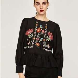 ZARA Embroidered long sleeve black top size M